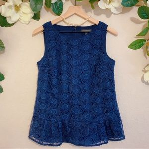 Banana Republic Navy Crochet Floral Sleeveless Top